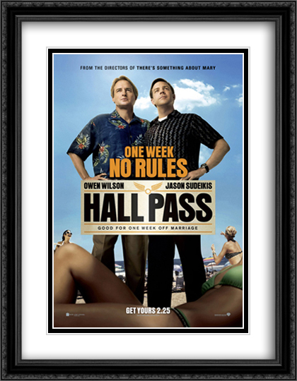 Hall Pass 28x36 Double Matted Extra Large Black Ornate Framed Movie Poster Art Print
