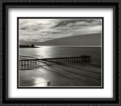 The Scripps Pier 2x Matted 32x28 Extra Large Black Ornate Framed Art Print by Adams, Ansel