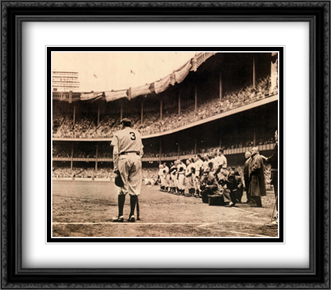 Babe Ruth Bows Out 2x Matted 32x28 Extra Large Black Ornate Framed Art Print by Fein, Nat