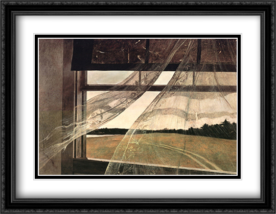 Wind from the Sea 2x Matted 34x26 Extra Large Black Ornate Framed Art Print by Andrew Wyeth