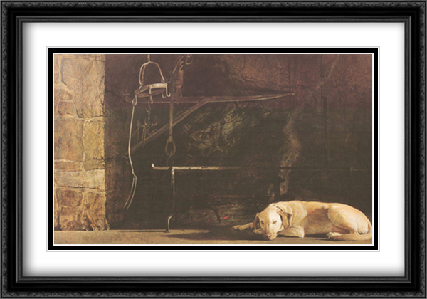 Ides of March 2x Matted 40x28 Extra Large Black Ornate Framed Art Print by Andrew Wyeth