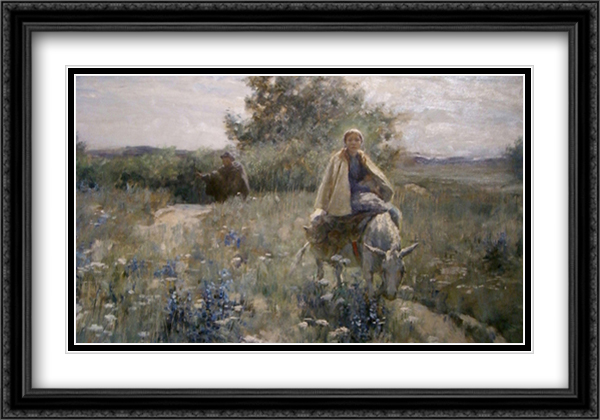 The Flight into Egypt 2x Matted 40x28 Extra Large Black Ornate Framed Art Print by George Hitchcock