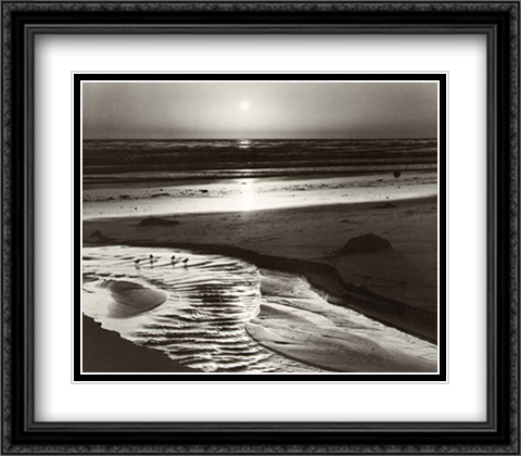 Birds on a Beach 2x Matted 36x28 Extra Large Black Ornate Framed Art Print by Ansel Adams