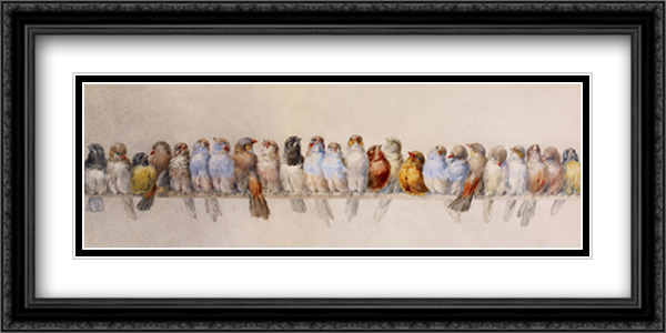Hector Giacomelli - The Bird Perch 2x Matted 40x20 Extra Large Black or Gold Ornate Framed Art Print by Hector Giacomelli