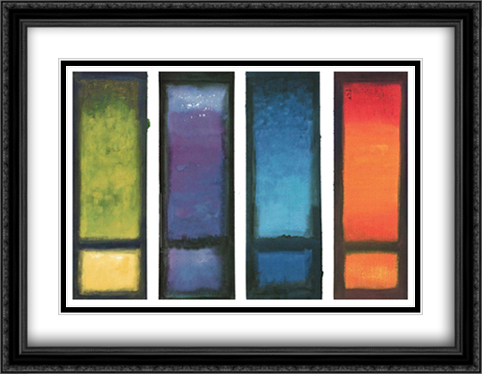 Four Meditations 2x Matted 36x28 Extra Large Black Ornate Framed Art Print by Ian Scott Massie