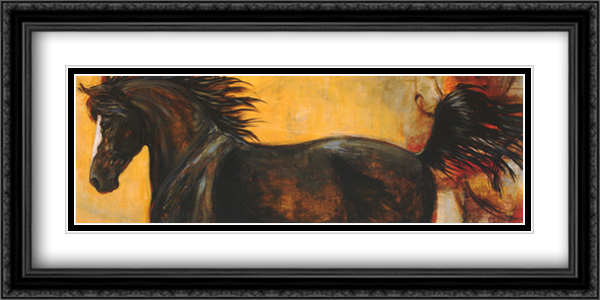 Strider II 2x Matted 40x16 Extra Large Black Ornate Framed Art Print by Karen Leibrick
