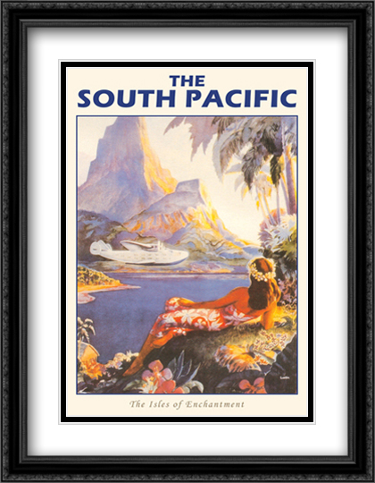 South Pacific-Isles of Enchantment 2x Matted 28x40 Extra Large Black Ornate Framed Art Print