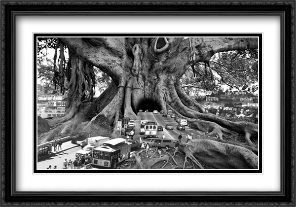 Barbey-Tourist Trap 2x Matted 40x28 Extra Large Black Ornate Framed Art Print by Thomas Barbey