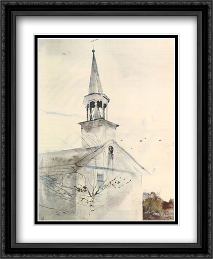 Tolling Bell 2x Matted 28x34 Extra Large Black Ornate Framed Art Print by Wyeth, Andrew