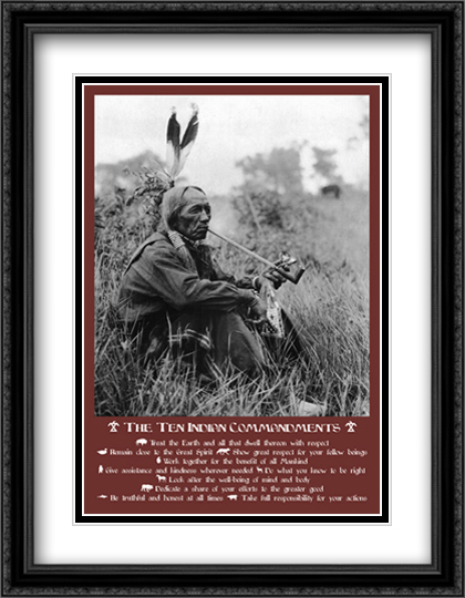 TEN INDIAN COMMANDMENTS 2x Matted 28x40 Extra Large Black Ornate Framed Art Print