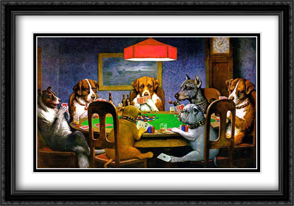 A Friend in Need / Dogs Playing Poker 2x Matted 40x28 Extra Large Black Ornate Framed Art Print by Cassius Marcellus Coolidge