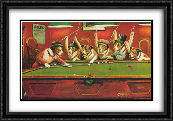 Dogs Playing Pool 2x Matted 40x28 Extra Large Black Ornate Framed Art Print by Cassius Marcellus Coolidge