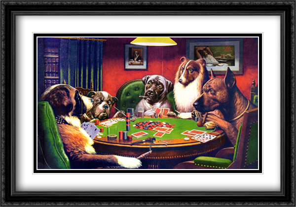 Dogs Playing Poker 2x Matted 40x28 Extra Large Black Ornate Framed Art Print by Cassius Marcellus Coolidge