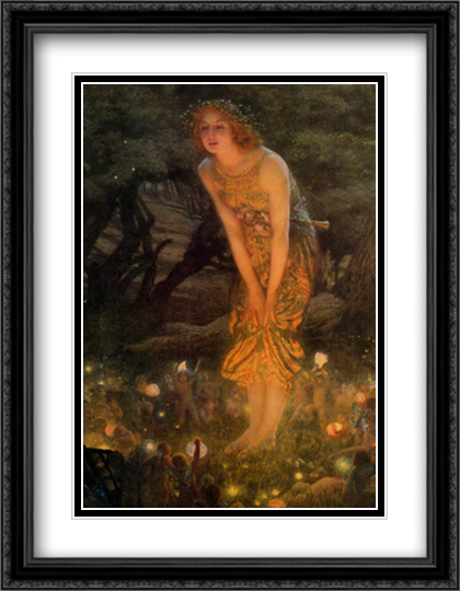 Midsummer Eve, c.1908 2x Matted 28x36 Extra Large Black Ornate Framed Art Print by Hughes, Edward Robert