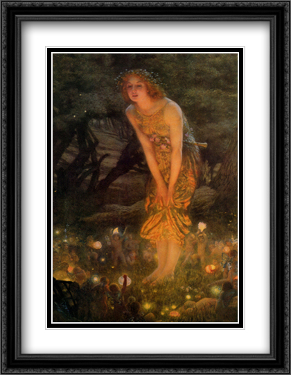 Midsummer Eve, c.1908 2x Matted 28x40 Extra Large Black Ornate Framed Art Print by Edward Robert Hughes