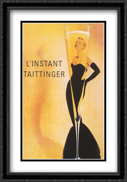 Champagne Taittinger 2x Matted 28x40 Extra Large Black Ornate Framed Art Print