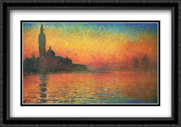 San Giorgio Maggiore at Twilight (or Dusk in Venice), c.1908 2x Matted 40x28 Extra Large Black Ornate Framed Art Print by Claude Monet