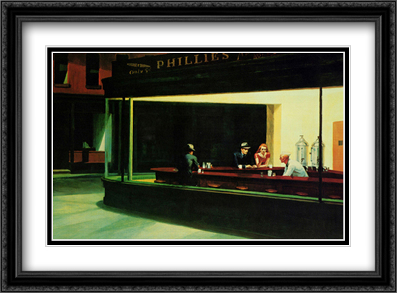 Nighthawks 2x Matted 38x28 Extra Large Black Ornate Framed Art Print by Hopper, Edward