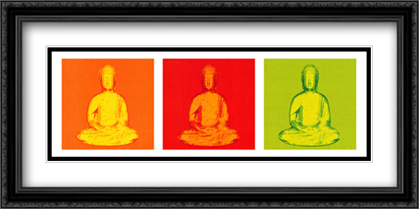 Buddha Pop Art 2x Matted 40x16 Extra Large Black Ornate Framed Art Print