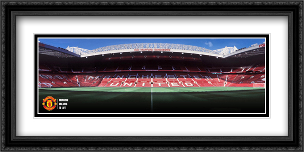 Old Trafford 2x Matted 40x16 Extra Large Black Ornate Framed Art Print