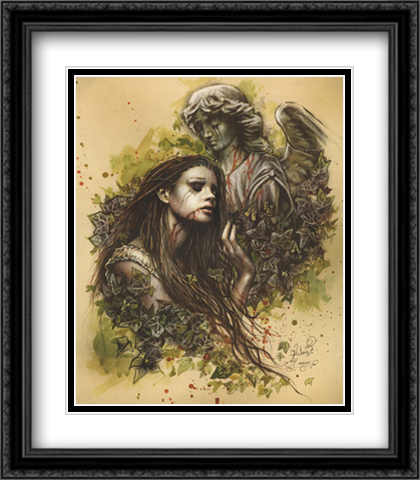 El Amor 2x Matted 28x40 Extra Large Black Ornate Framed Art Print by Victoria Frances