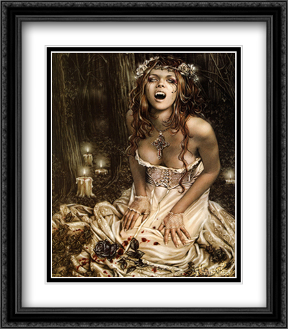 Vampire Girl 2x Matted 28x32 Extra Large Black Ornate Framed Art Print by Frances, Victoria