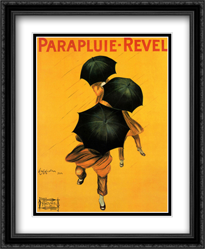 Parapluie - Revel 1922 2x Matted 28x34 Extra Large Black Ornate Framed Art Print by Cappiello, Leonetto