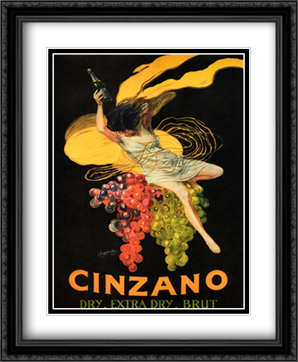 Asti Cinzano 2x Matted 28x34 Extra Large Black Ornate Framed Art Print by Cappiello, Leonetto
