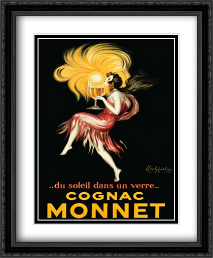 Cognac Monnet 2x Matted 28x34 Extra Large Black Ornate Framed Art Print by Cappiello, Leonetto