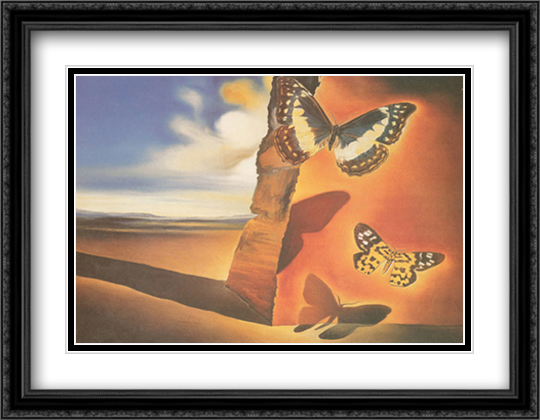 Paysage Aux Papillon 2x Matted 36x28 Extra Large Black Ornate Framed Art Print by Dali, Salvador