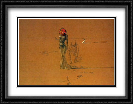 Female Figure with Head of Flowers, c.1937 2x Matted 36x28 Extra Large Black Ornate Framed Art Print by Dali, Salvador