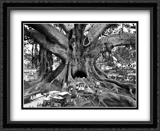 Tourist Trap 2x Matted 40x28 Extra Large Black Ornate Framed Art Print by Thomas Barbey