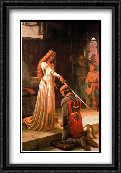 Accolade, 1901 2x Matted 28x40 Extra Large Black Ornate Framed Art Print by Leighton, Edmund Blair