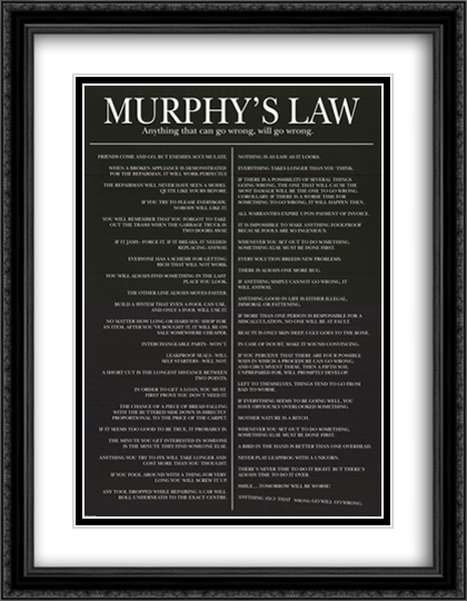 Murphy's Law 2x Matted 28x40 Extra Large Black Ornate Framed Art Print