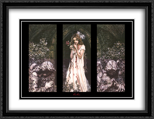 Rose (triptych) 2x Matted 40x28 Extra Large Black Ornate Framed Art Print by Victoria Frances