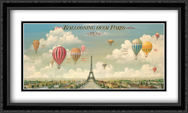 Ballooning Over Paris 2x Matted 40x24 Extra Large Black Ornate Framed Art Print by I. Lane
