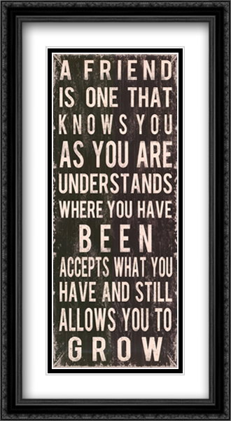 A Friend is... 2x Matted 18x40 Extra Large Black Ornate Framed Art Print by Louise Carey