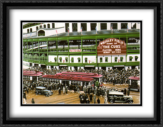 Wrigley Field 2x Matted 28x36 Extra Large Black Ornate Framed Art Print