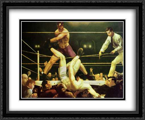 Dempsey And Firpo 2x Matted 34x28 Extra Large Black Ornate Framed Art Print by Bellows , George Wesley