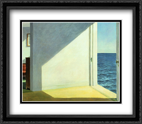 Rooms By The Sea 2x Matted 32x28 Extra Large Black Ornate Framed Art Print by Hopper, Edward