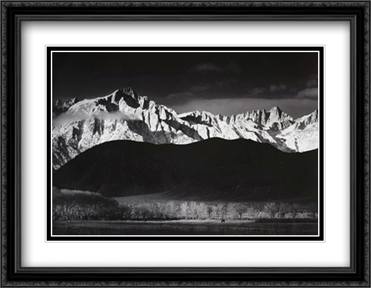 Winter Sunrise 2x Matted 34x28 Extra Large Black Ornate Framed Art Print by Ansel Adams