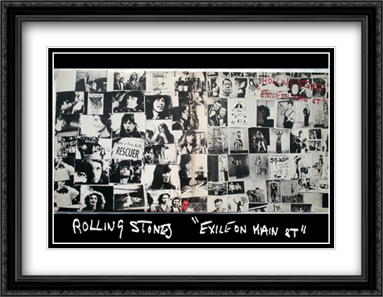 Rolling Stones, exile on main street 2x Matted 40x28 Extra Large Black Ornate Framed Art Print by Robert Frank