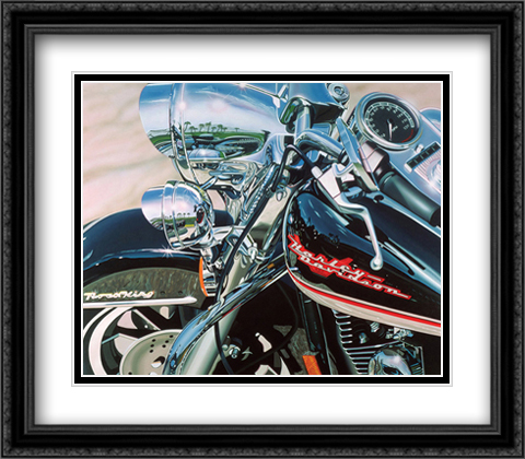 Road King 2x Matted 32x28 Extra Large Black Ornate Framed Art Print by Scott Jacobs