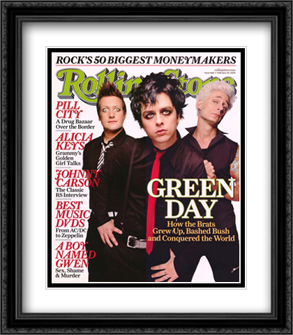 Green Day, Rolling Stone Cover 2x Matted 28x40 Extra Large Black Ornate Framed Art Print by James Dimmock