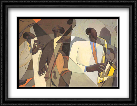 Jazz at Takoma Station 2x Matted 34x26 Extra Large Black Ornate Framed Art Print by Joseph Holston