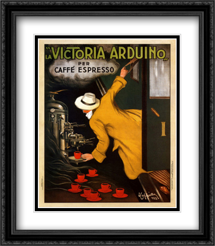 Victoria Arduino 2x Matted 28x36 Extra Large Black Ornate Framed Art Print by Leonetto Cappiello