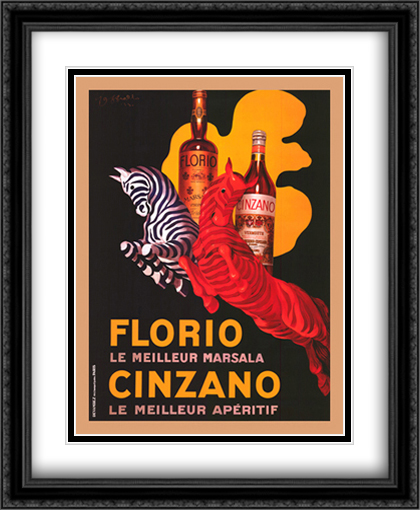Florio E Cinzano 2x Matted 28x40 Extra Large Black Ornate Framed Art Print by Leonetto Cappiello