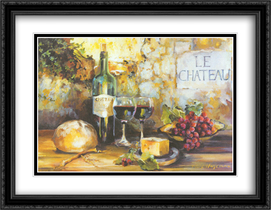 Le Chateau 2x Matted 40x28 Extra Large Black Ornate Framed Art Print by Marilyn Hageman