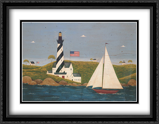 Coastal Breeze II 2x Matted 36x28 Extra Large Black Ornate Framed Art Print by Warren Kimble