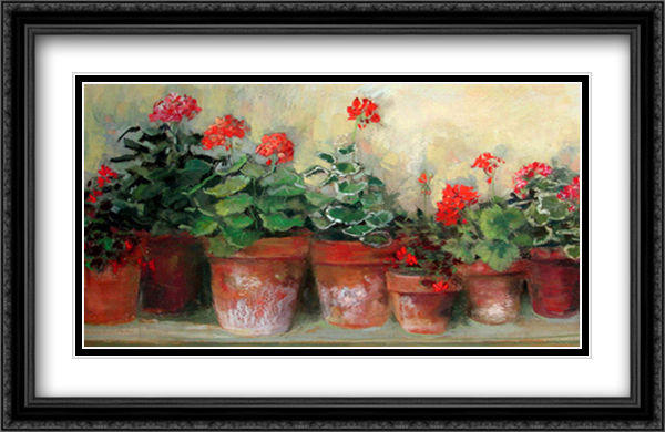 Kathleen's Geraniums 2x Matted 36x24 Extra Large Black Ornate Framed Art Print by Carol Rowan